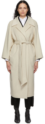 Mame Kurogouchi Off-White Wool Shaggy Belted Coat