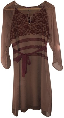 One Step Brown Cotton Dress for Women