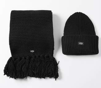UGG Knitted Scarf And Hat Set Black