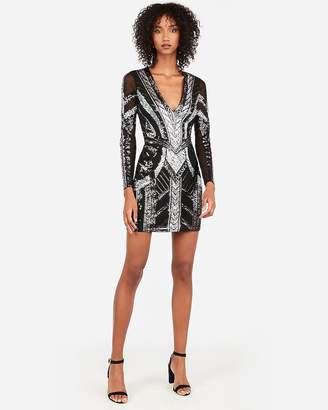 Express Sequin Deep V-Neck Sheath Dress
