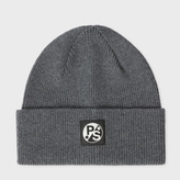 Paul Smith Men's Grey Merino Wool Beanie Hat