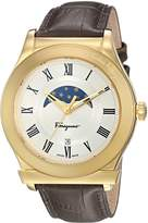 Salvatore Ferragamo Men's 'FERAGAMO 1898' Quartz Stainless Steel and Leather Casual Watch, Color:Brown (Model: FBG030016)