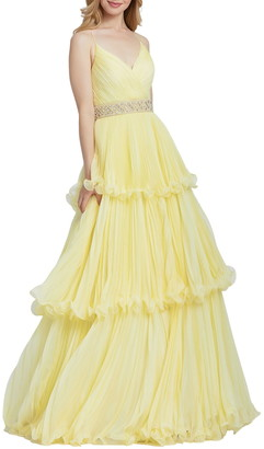 Mac Duggal Soft Tulle Tiered Ruffle Ball Gown