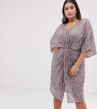 Asos DESIGN Curve scatter sequin knot front kimono midi dress