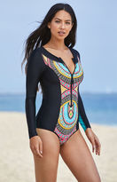 Body Glove Sand Bar Zip Front One Piece Swimsuit