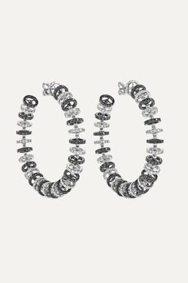 Ofira Halo 18-karat Blackened White Gold Diamond Hoop Earrings