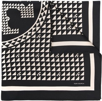 Tory Burch Geometric Logo Print Silk Scarf
