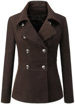 LuShmily Womens Toggle Hooded & Double Breasted Trench Coat M