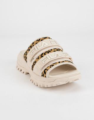 Fila Outdoor Animal Print Womens Taupe Slide Sandals