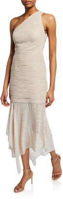 Halston One-Shoulder Pleated Metallic Dot Chiffon Dress