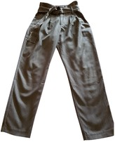 Suncoo Grey Cotton Trousers for Women