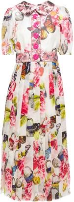 Dolce & Gabbana Brocade-trimmed Printed Silk-blend Organza Midi Dress
