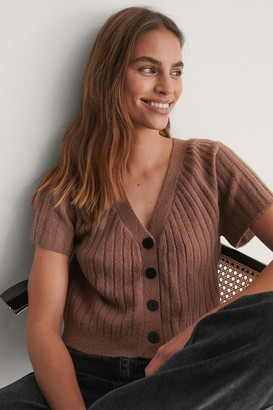 NA-KD Short Sleeve Knitted Cardigan