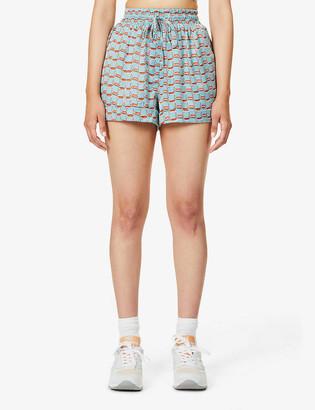 Prevu Villena geometric-print high-rise stretch-satin shorts