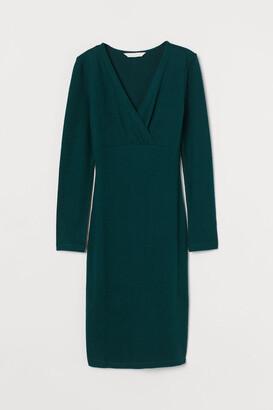 H&M MAMA V-neck Nursing Dress - Green