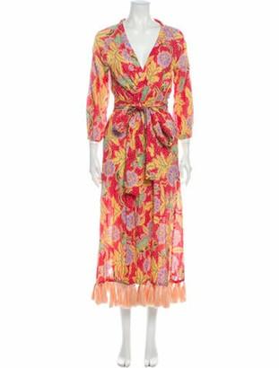 Rhode Resort Floral Print Midi Length Dress Red Floral Print Midi Length Dress