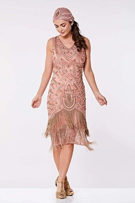 Linzi Gatsbylady London Hollywood Fringe Flapper Dress in Rose