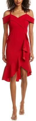 Bebe Cascade Ruffle Midi Dress