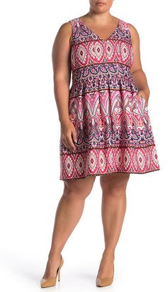 Vince Camuto Geo Scuba Fit and Flare Dress (Plus Size)
