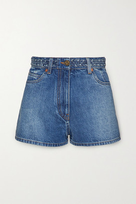 Valentino Braid-detailed Denim Shorts - Mid denim