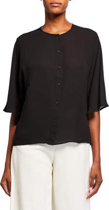 Catherine Malandrino 3/4-Sleeve Button-Down Blouse