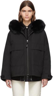 Yves Salomon Army Black Down and Fur Bachette Jacket