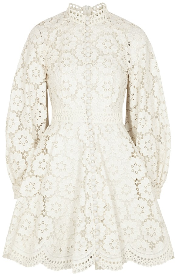 Zimmermann Bells ivory floral-embroidered mini dress