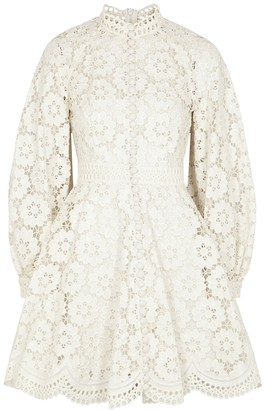 Zimmermann Bells ivory floral-embroidered mini dress