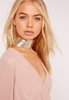 Missguided Wide Metallic Choker Necklace Gold