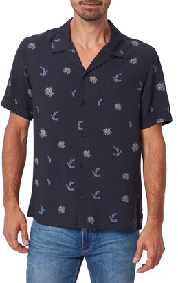 Paige Landon Slim Fit Desert Print Short Sleeve Button-Up Camp Shirt