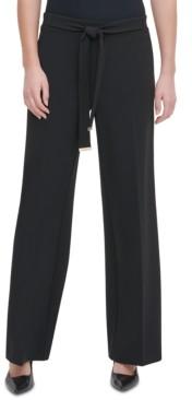 Calvin Klein Tie-Front Wide-Leg Pants