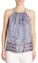 Joie Amarey G Metallic Silk Halter Top