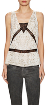 BCBGeneration Printed And Lace Sleeveless Top