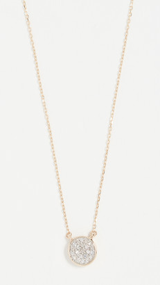 Adina 14k Gold Solid Pave Disc Necklace