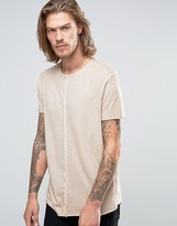 Asos Longline T-Shirt With Pigment Wash And Raw Seams In Beige