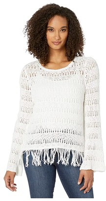 Wrangler Western Sweater with Fringe (Natural) Women's Clothing