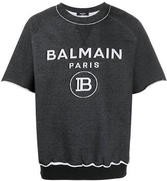 Balmain Short-Sleeve Logo Sweatshirt
