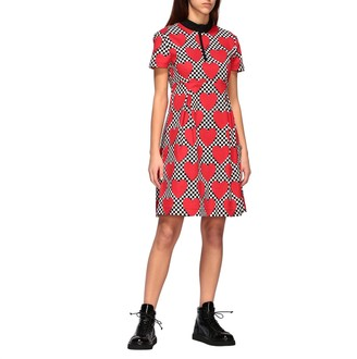 Love Moschino Dress Cotton Dress With All Over Heart Print