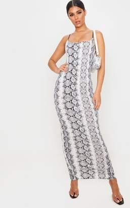 PrettyLittleThing Grey Snake Print Strappy Split Back Maxi Dress