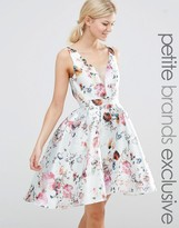 Chi Chi Petite Chi Chi London Petite Plunge Front High Low Skater Dress In Allover Floral Print