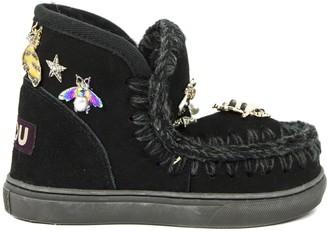 Mou Eskimo Sneaker In Black Sheepskin