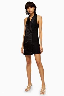 Topshop Womens Black Satin Tuxedo Dress - Black