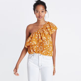 Madewell Silk One-Shoulder Top in Assam Floral