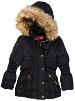 Catherine Malandrino Faux Fur Trimmed Hooded Bubble Jacket (Little Girls)