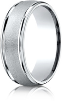 Ice Platinum 7mm Comfort-Fit Wired-Finished Round Edge Carved Design Wedding Band