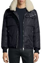 Moncler Darwin Shirt Jacket w/Shearling Collar, Navy