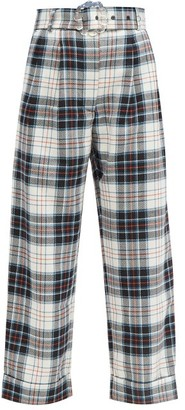 Shrimps Houston Belted High-waist Checked-wool Trousers - White Multi