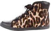 Lanvin Ponyhair High-Top Sneakers