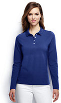 Classic Women's Regular Long Sleeve Mesh Polo-Merlot