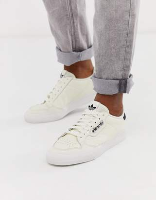 adidas Original continental 80 vulc trainers in off white leather